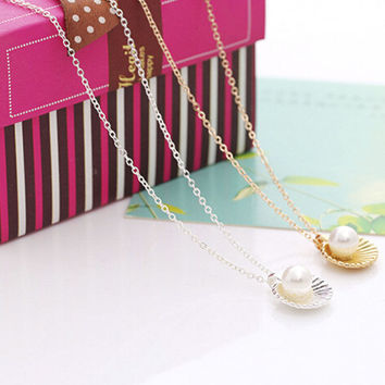 Simulated Pearl Necklace Jewelry Shell Statement Necklace For Women Jewelry S SM6