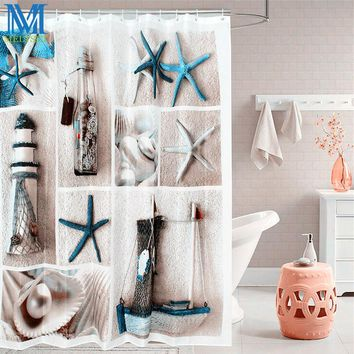 Sea Life Seashell Starfish Waterproof Shower Curtain Bathroom Products Thicken Bath Curtain