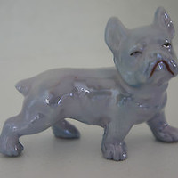 Grey Bulldog Figurine Hand Painted Opalescent Finish with Stunning Detail
