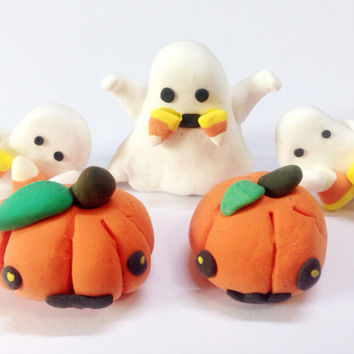 Halloween Ghost Ornament Decor Set, Halloween Decor, Halloween Party, Halloween Ornaments, Candy Corn, Polymer Clay Halloween, Miniature