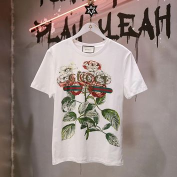 100% Authentic gucci 2018ss flowers t shirt 13