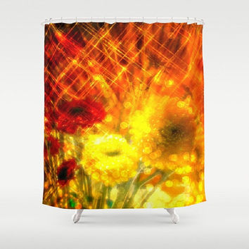 Flowers, Light, Yellow, Red, Joy - Decorative Shower Curtain-Machine Washable - Decor, Gift, New Home or Apartment - Made To Order - J#77