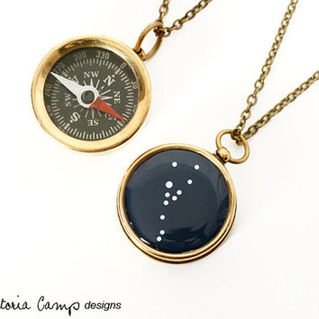 Taurus Constellation Compass Necklace, Working Compass, Brass Chain, Pocket Compass, Bridal Party,  Zodiac, April May Birthday