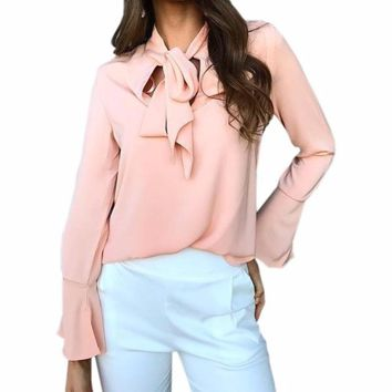 Women's Pink Chiffon Bell Sleeve Blouse with Front Tie