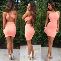 Sexy backless tight dress VTQAU