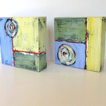 Acrylic Abstract Paintings, Small Diptych, Original Art on Canvas, Modern Home Decor