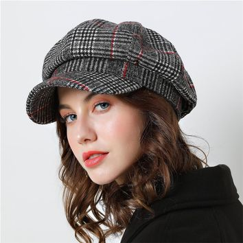 Trendy Winter Jacket Women Baseball cap For Winter Female Cotton Hats Plaid Vintage Fashion Octagonal Casual boina Autumn 2018 Brand New Women's Caps AT_92_12