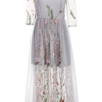 Bifast Womens Casual Brilliant Colorful Flower Embroidered Tulle Maxi Dress (S-XXL)