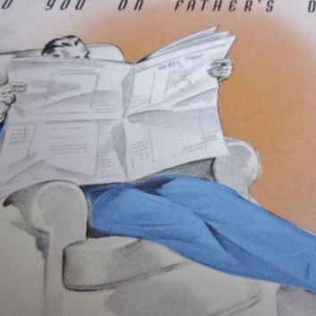 Vintage Unused Father's Day Greeting Card Retro Dad Reading the Newspaper Rust Craft Boston, USA