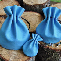 3pcs Set of Blue Leather Bags