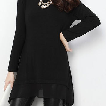 Black Long Sleeve Chiffon Layered Dress