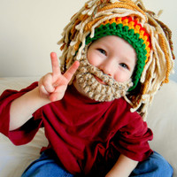 Rasta Hat Bearded Beanie Men's Beanie Beard Hat with Rasta Bandana and Dreadlocks Blonde Dreads Fathers day Gift Idea Halloween Costume
