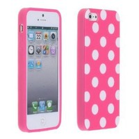 niceeshop Pink&white Polka Dot Flex Gel TPU Case Cover for iPhone 5 5S