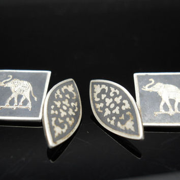 Elephant Cuff Links Sterling Silver Siam Nielloware 925 Chain Cufflinks Mid Century Deco Style