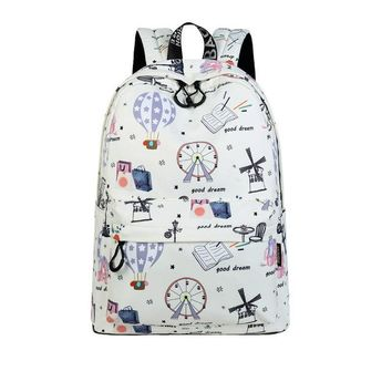 University College Backpack Casual Waterproof Polyester Women s Cute Hot Air Balloon Pattern Printing Girls  Daily MochilaAT_63_4