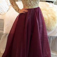Gold Burgundy Lace Crystal Beading Prom Dress