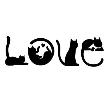 15.2*4.8CM Cats Spell LOVE Fashion Creative Cartoon Auto Decal Sticker - Decorative Decals