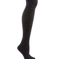 HUE Glen Plaid Tights with Control Top - Black