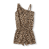 Toddler Girls Sleeveless Leopard Print Ruffled One-Shoulder Tank Romper | The Children's Place