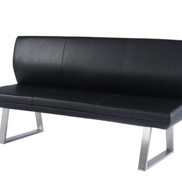 Modrest Magnus Modern Black High Back Dining Bench
