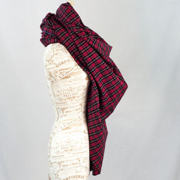 Red Plaid Blanket Scarf, Black Flannel Oversized Brawny Wrap Scarf, Flannel Woven Cotton Scarf, Fashion Scarf, Womens Scarves