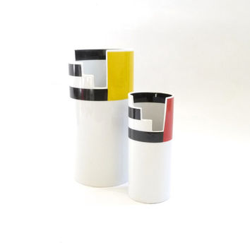 Memphis Modern Porcelain Vase Set by Thomas Germany