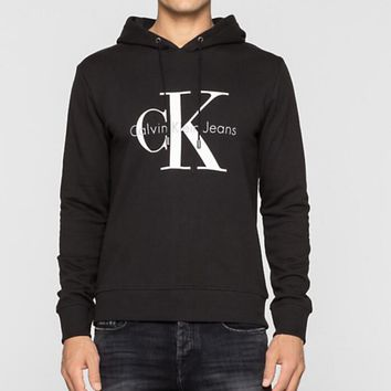 Calvin Klein CK Jeans Fashion Men Women Classic Print Long Sleeve Hooded Sweater Top Sweatshirt Black I13611-1