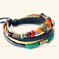 Fashion bangle leather bracelet men bracelet women bracelet punk bracelet made of leather ropes wood beads and metal wrist bracelet  SH-2599