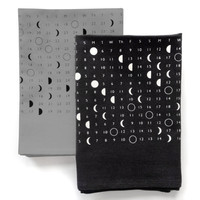 2016 Moon Calendar Phases Towel, hand printed in Portland, screenprint, space stars calendar print, bright white and black