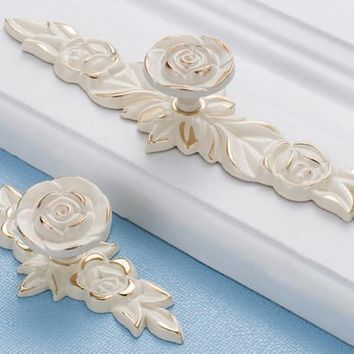 rose--Ivory white   Shabby Chic Dresser Drawer Pulls Handles /  Rose Cabinet Pull Handle Knobs Furniture Hardware