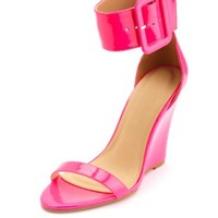 Neon Patent Single Ankle Strap Wedges by Charlotte Russe - Pink