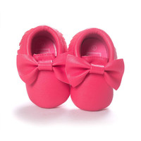 Watermelon Pink Bow Moccasins, Baby Moccasins, Toddler Bow Moccasins, Pink Moccasins, Vegan Soft Sole 3-18 months Infant Shoes Gift