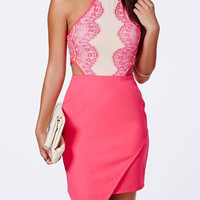 Pink Sleeveless Cut Out Asymmetrical Dress