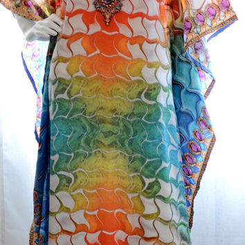 long Kaftan dress embellished relaxed fit gorgeous kaftan for beach or smart casual wear