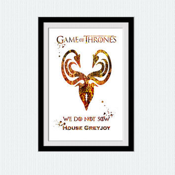 Game of Thrones poster House Greyjoy watercolor art Game of Thrones art print Home decoration Kids room wall art Nursery room decor W610