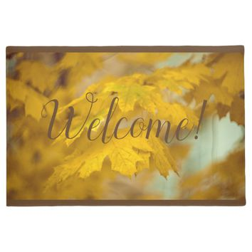 Yellow autumn maple leaves. Add you text or name. Doormat