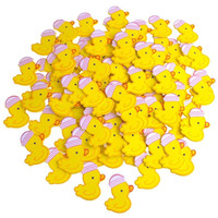 Small Wooden Rubber Ducky with Hat, Pink, 1-1/2-Inch, 100-Piece