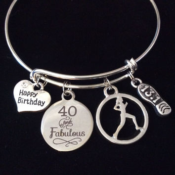 Happy Birthday Forty and Fabulous 13.1 Runner Expandable Silver Charm Bracelet Adjustable Wire Bangle Trendy Race Gift