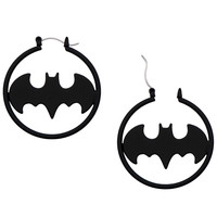 "Women's ""Batman"" Hoop Earrings by Inox Jewelry (Black/Stainless Steel)"