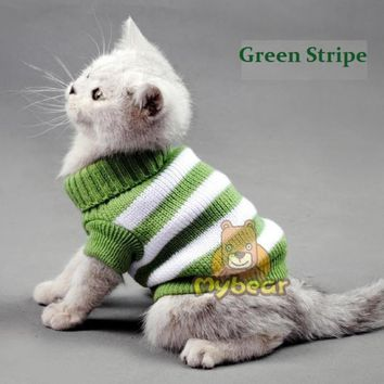 Candy Stripe Warm Cat Sweater Jumper For Small Pets XS S M L XL