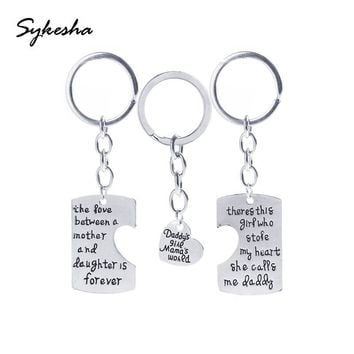 Mother Daughter Father keychains