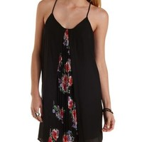 Black Combo Pleated Floral & Chiffon Shift Dress by Charlotte Russe