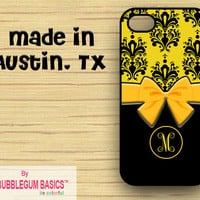 PERSONALIZED iPhone Case iPhone 4 4S iPhone 5 Phone Case - Yellow Damask Bow - Monogrammed Custom