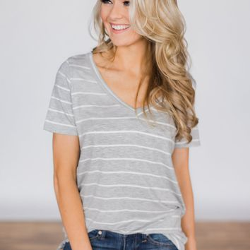 Beautiful and Basic Striped Top - Grey