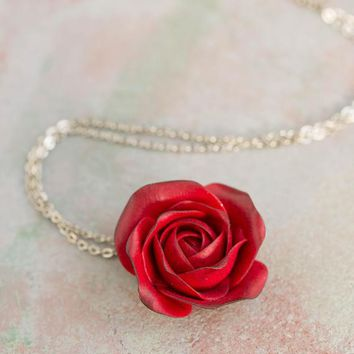 Red rose necklace with initial