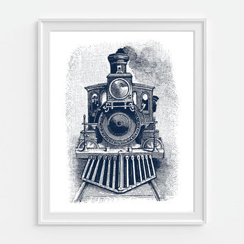 Train Art Print, Steam Egine Train, Railroad Wall Art, Boys Room Art, Steam Locomotive, Train Wall Art, Steam Engine, Train Decor