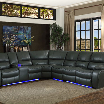 Home Elegance HE-8480GRY-4SCPD 4 pc pecos grey leather gel match sectional sofa power motion recliner ends