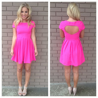 Fuschia Heart Back Babydoll Dress