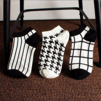 Autumn Winter Basic Geometry Warm Floor Thickening Socks Cotton Garter