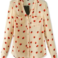 Attractive Strawberry Long-Sleeves Apricot Shirt - OASAP.com